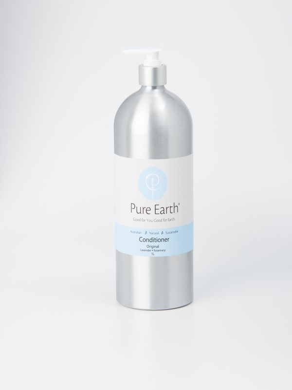 Pure Earth Natural Conditioner with Lavender and Rosemary essential oils in eco-friendly, refillable 1 litre Aluminium bottle
