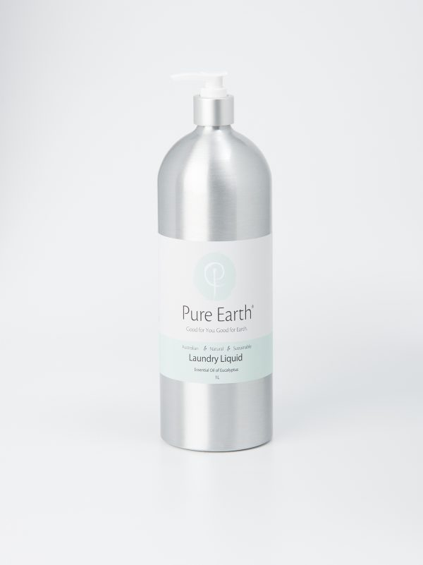 Pure Earth Natural Laundry Liquid with Essential Oil for Eucalyptus in eco-friendly, refillable 1l Aluminium bottle