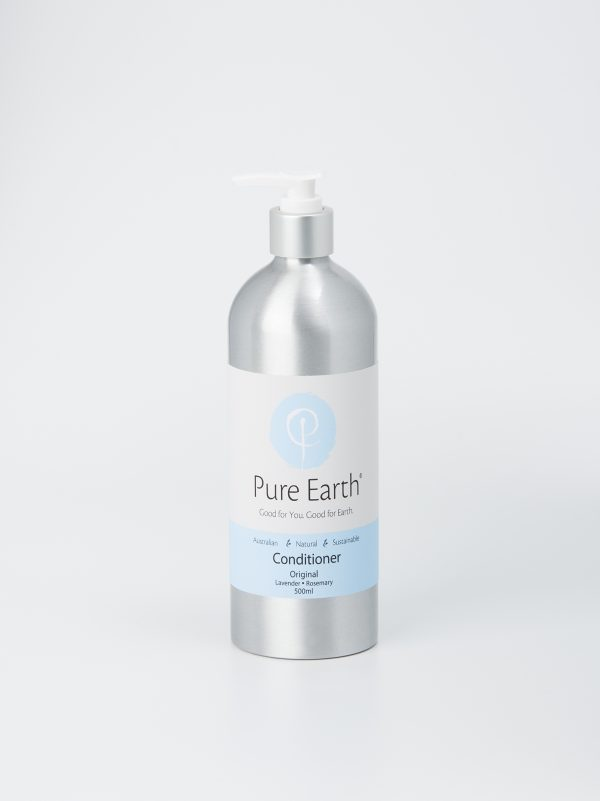 Pure Earth Natural Hair conditioner with Lavender and Rosemary in eco-friendly, refillable 500ml Aluminium bottle.