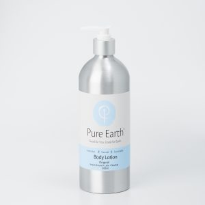 Pure Earth Natural Body Lotion with Sweet Almond, Lime and Rosehip in eco-friendly, refillable 500 ml Aluminium Bottle