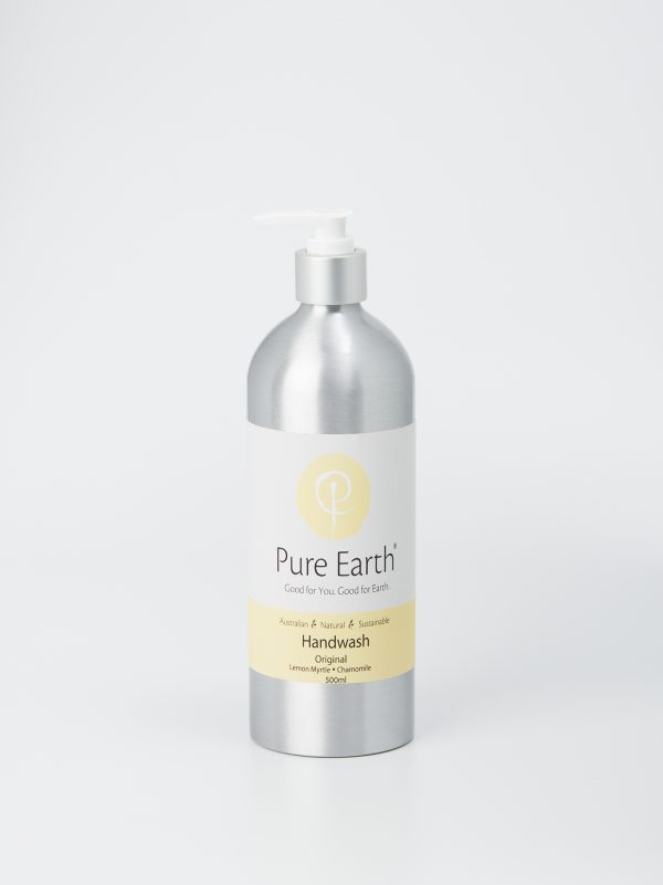 Pure Earth Natural Liquid Hand Wash with Lemon Myrtle and Chamomile in refillable, eco-friendly 500ml aluminium bottle
