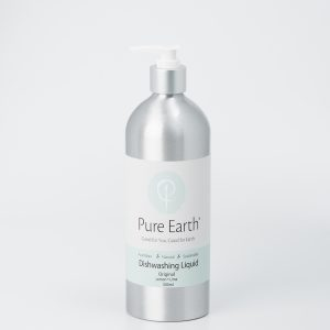 Pure Earth Natural Dishwashing Liquid with Lemon and Lime Essential Oils in eco-friendly, refillable 500ml Aluminium Bottle