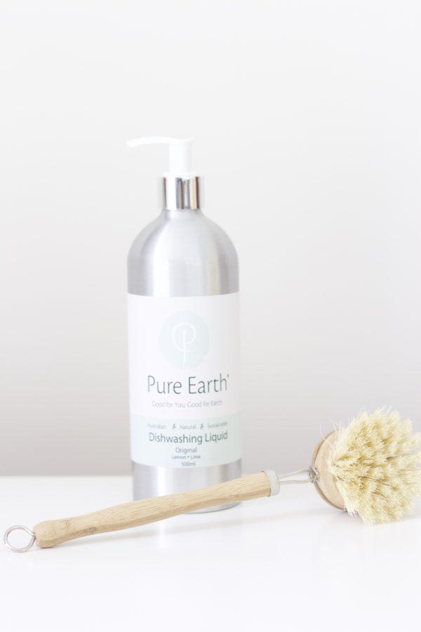 Natural Dishwashing Liquid and Natural Brush
